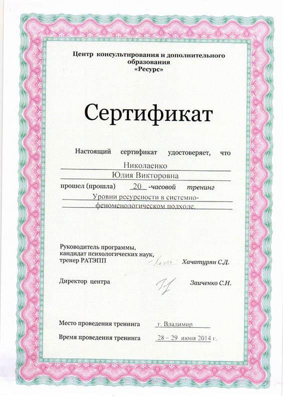 Сертификат Егорова