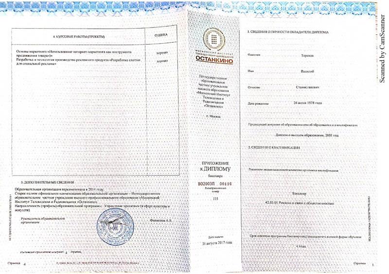 Приложение к диплому Терехов
